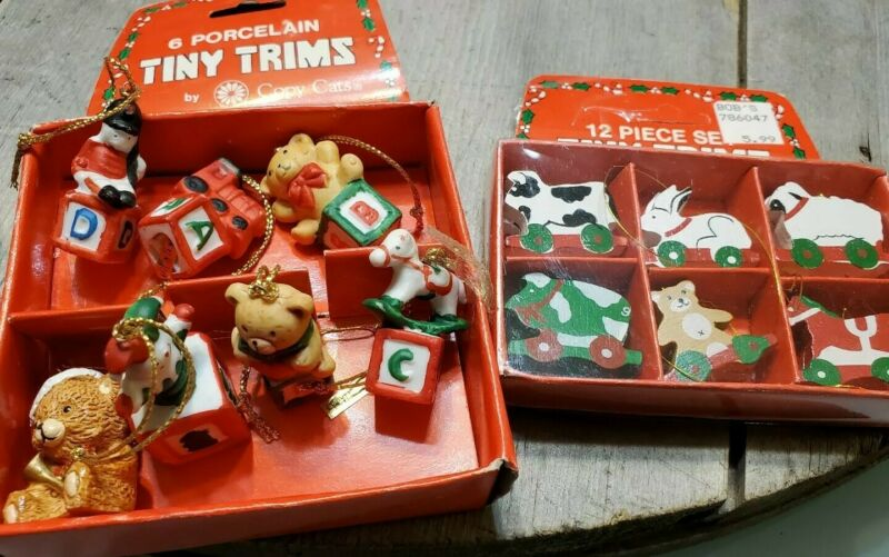 Tiny Trims Porcelain & Wood Christmas Tree Ornaments Mini Vintage Holiday