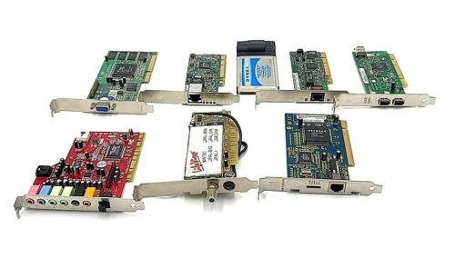PC Cards Lot of 8 Various Brands Various Types Sound Network Video Etc