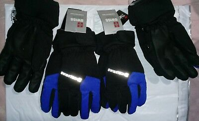 👲 Swiss Tech 3M Thinsulate Boys Blk Winter Ski Gloves Size S-M, L-XL Waterproof
