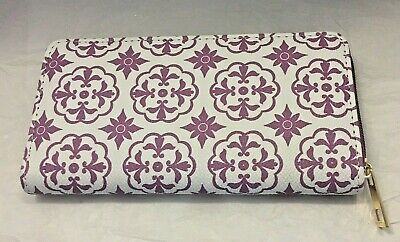 Womens Zip Around Wallet Clutch Purple and White Floral Faux Leather