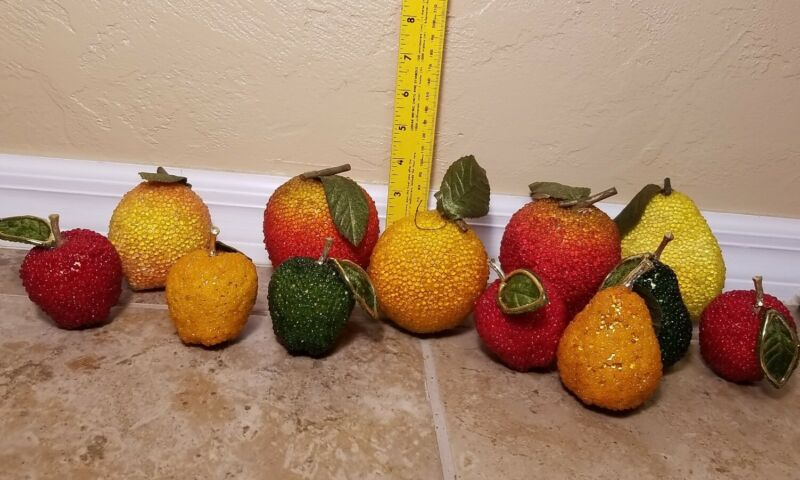 VINTAGE BEADED SEQUIN JEWELED FRUIT HANDMADE LARGE LOT of 12 PIECES