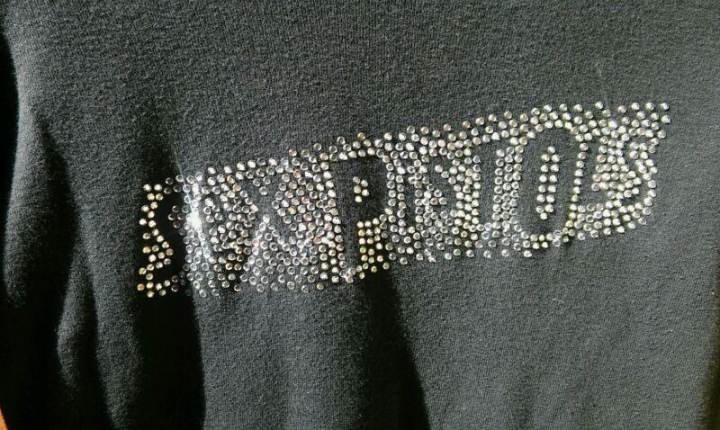 Glittering Zipper Sleeve Sex Pistols Vintage Ladies Black Long Sleeve Shirt