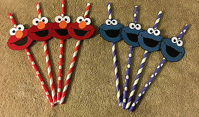 Sesame Street Cookie Monster or Elmo straws. Set of 12 Great for Birthday - Cookie Monster Decorations