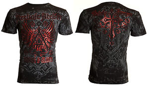 $40 Archaic AFFLICTION Tattoo ACHILLES Cross Biker UFC EXPRESS T-SHIRT MENS XL