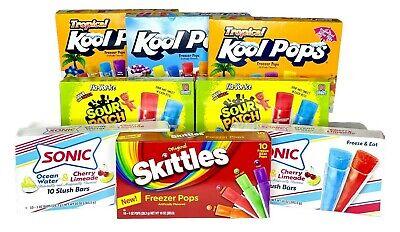 Lot Freezer Pops Kool-Aid, Sonic, Sour Patch, & Skittles 110 Total Pops