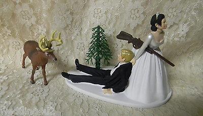 Wedding Deer Hunter Hunting Cake Topper ~Dark Hair on Bride - Blonde on -