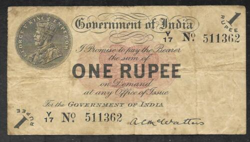 INDIA - Scarce Old 1 Rupee Note - 1917 - P1b - FINE