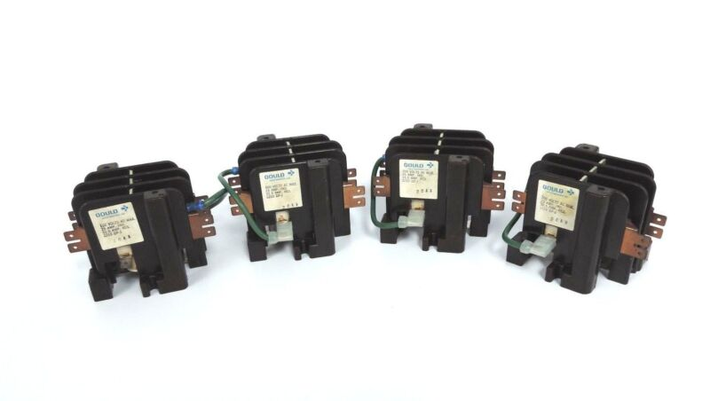 LOT OF 4 GOULD 2210 DP-J 20AA CONTACTORS 2210DPJ20AA, 600 VOLTS AC 25 AMP. IND.