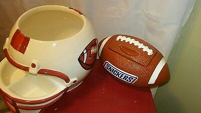 Football Helmet Chip and Dip Serving Bowl ~ Elements and snickers football  (Football Serving Bowl)