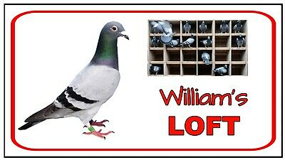 PIGEON LOFT - METAL SIGN - PERSONALISE YOUR SIGN.- RACING FANCIERS BIRD HEN  0