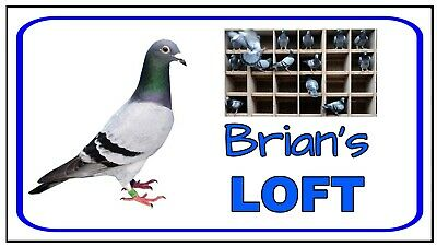 PIGEON LOFT - METAL SIGN - PERSONALISE YOUR SIGN.- RACING FANCIERS BIRD HEN