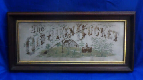 "Vintage Wood Framed Needlepoint Punch Paper Sampler ""THE OLD OAKEN BUCKET"""