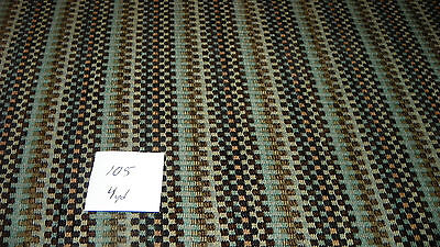 Brown Turquoise Beige Stripe Upholstery Fabric 1 Yard R105