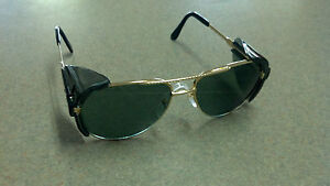 Aviator-Safety-Glasses-With-side-shields-Z87-Dark-Lens-Gold-frame