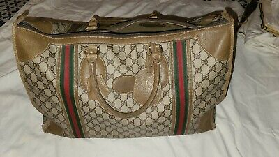 Vintage 80s GUCCI GG Carry on Luggage Brown 21x15x12 Pre-owned very rare find