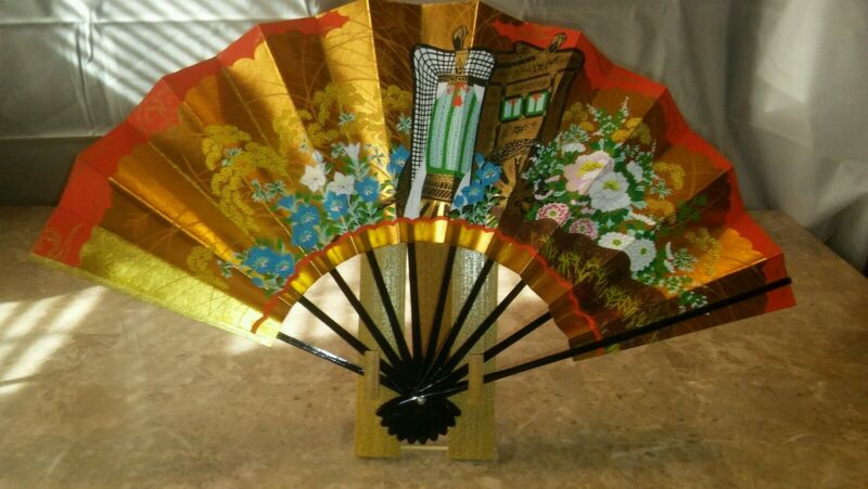 Vintage Japanese Folding Fan   Gold with Red plus Display Stand Box Instructions