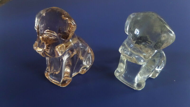 2 Glass dog candy containers clear, pink