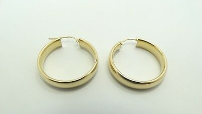 "Beautiful 14K Yellow Gold 6mm Wide Flat Hoop Tube Earrings 1.16"" 3.4g A2544"