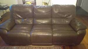 Brown leather 3 seater couch New Farm Brisbane North East Preview