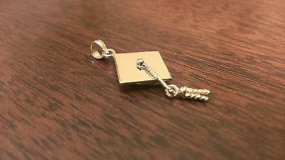 14K YELLOW GOLD SOLID POLISHED GRADUATION CAP CHARM PENDANT - 2 GRAMS 2 Polished Gold Charm