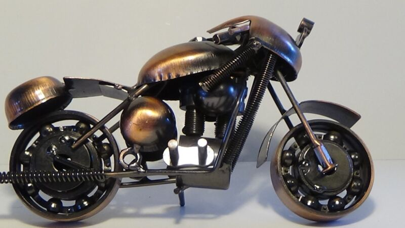 metal toy motorcycle copper tone