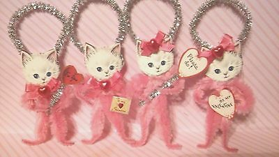 4 Vintage Style Valentine's Sweet Pink Kittens Ornaments Party Favors Tags