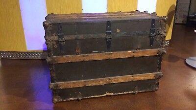 Antique STEAMER TRUNK Oak Slat 1800's flat top WW1 Era