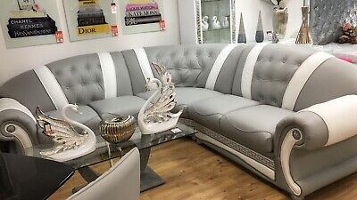 Venus Versace Style Grey And White Corner Sofa