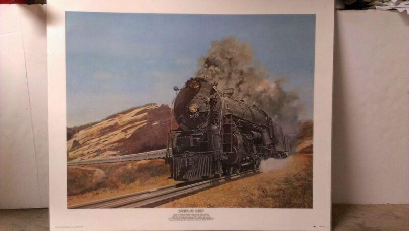 Santa Fe Chief Laminated Print 18x23 By Deneen Santa Fe Railway Northern 4-8-4