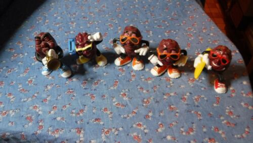 5 Applause California Raisin Figures Hard Rubber Trumpet Boombox Skateboard Fing