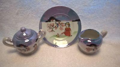 "Miniature blue lusterware creamer 2"", sugar bowl w/lid, and side plate 4"" Japan for sale  Dayton"