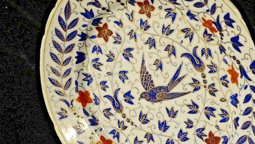 Victorian antique ornate blue & gold Sparrow bird porcelain china plate