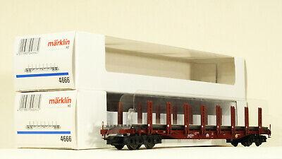 Märklin Set mit 2 Rungenwagen 4666 beladen mit Schienen Epoche 4 OVP Top