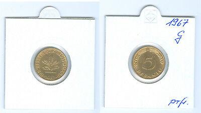BRD  5 Pfennig 1967 G  prägefrisch