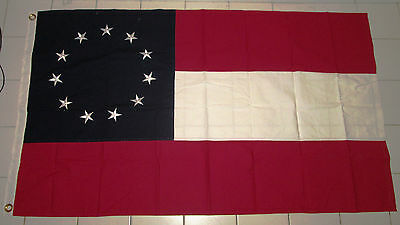 SEWN 11 Star 1st National Stars and Bars Flag, Southern American Civil War Flag