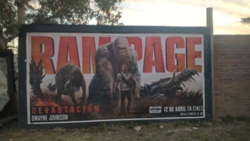 Original huge RAMPAGE billboard movie poster - Dwayne THE ROCK Johnson Giant ape