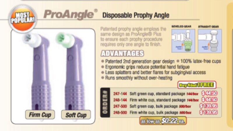 DISPOSABLE PROPHY ANGLES BX/500 PROANGLE SOFT CUP   247-500