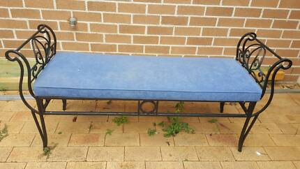 Wrought Iron Bench with Upholstered Seat