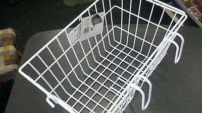 Sunlite Lift Off Bicycle Basket -14.5x8.5x7inches-quick mount hooks-White