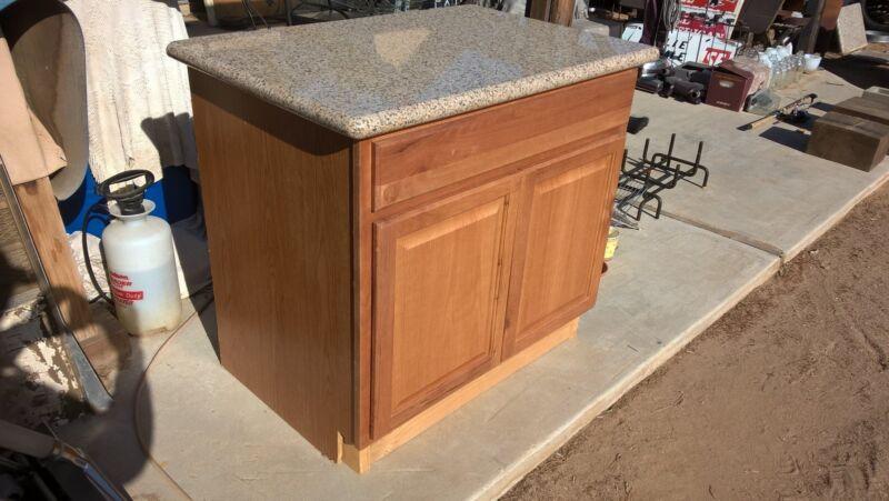 Oak Cabinet With Granite Countertop