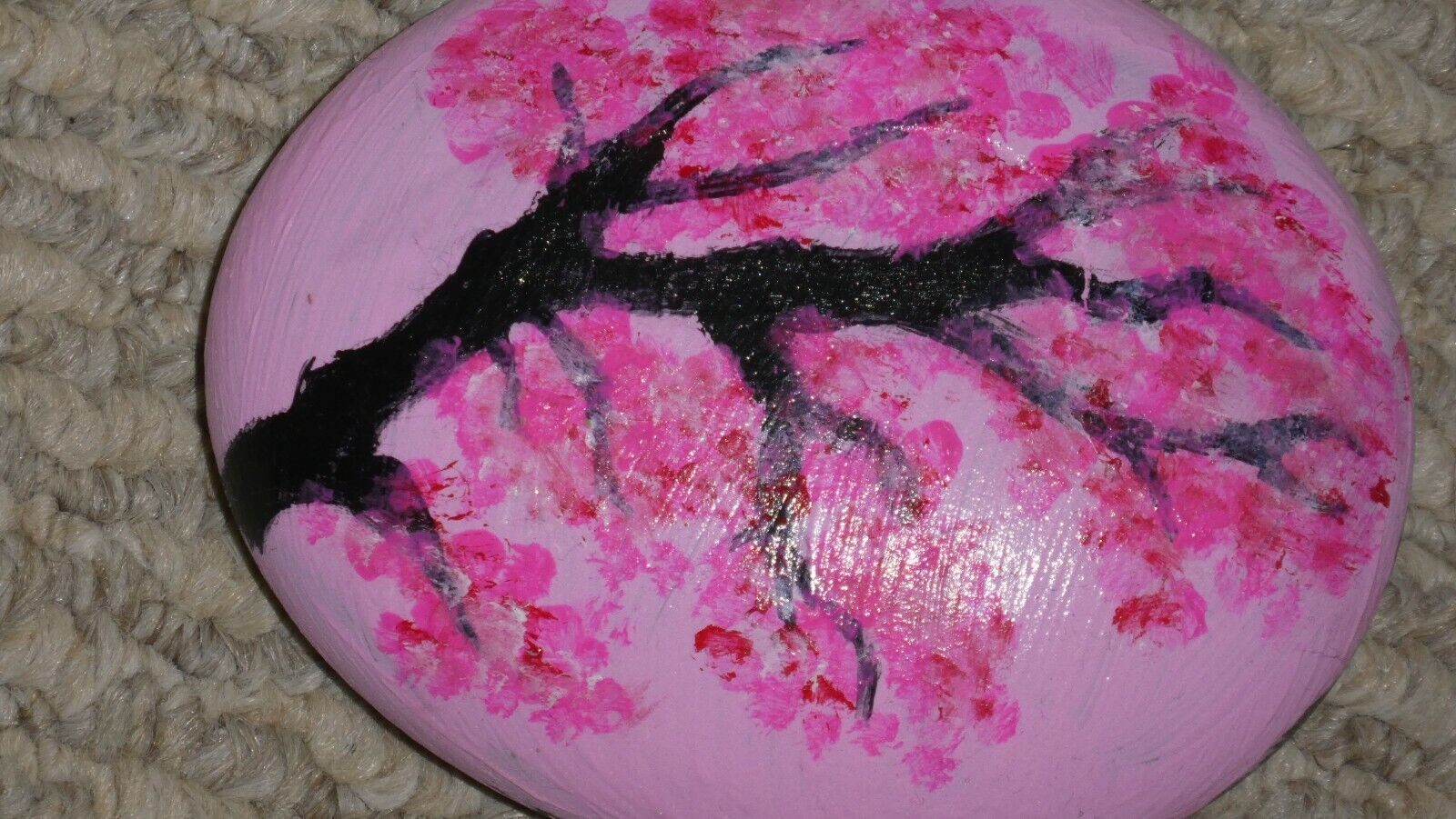 Hand Painted Pink Japan Cherry Blossom Tree On River Rock Japanese 3 X 4  - $3.95