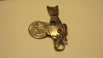 VINTAGE STERLING SILVER CAT PIN WITH MOVING TAIL .925 SILVER