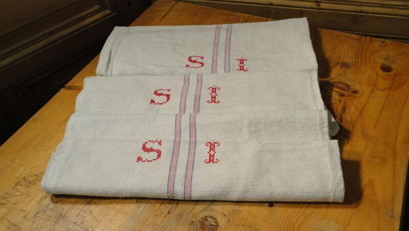Antique GRAIN SACK Feed Sack European SI Monogram #6111