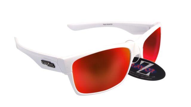 RayZor Uv400 White Sports Wrap Sunglasses Red Iridium Mirrored Lens RRP£49 (424)