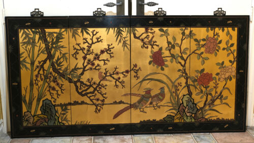 """VGUC+ Asian Pheasants in the Wild 4 Wall Hanging Panels 36""""H x 17 1/2""""W"""