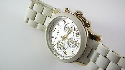 Michael Kors Gold Tone & White Silicone Women's Watch Chronograph MK-5145