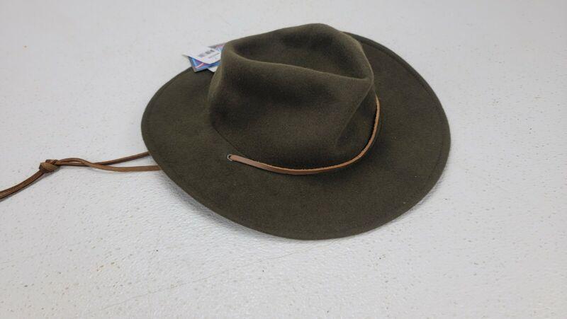 New 100% Wool Boy Scout Uniform Medium Hat BSA Green Campaign X2A