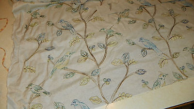 Tan Blue Green Bird Print Upholstery Fabric Remnant  1 Yard  R852