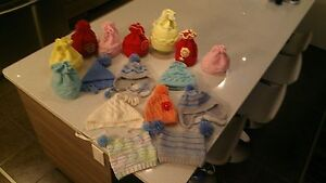 knitted baby hats and socks