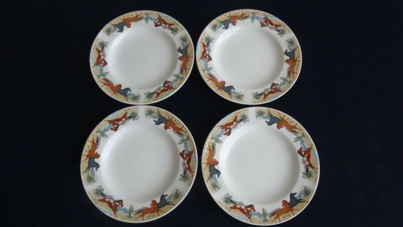 "Tienshan Stoneware Welled 8"" Plates FOUR (4) Brown Gray Horses Spotted Pony"